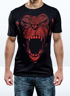 Primal ONNIT T - Chimp Red - printed on an ONNO bamboo tee