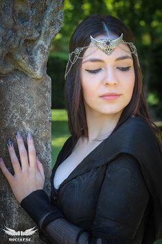 Elven Headdress with Chains Winged by NocturneHandcrafts on Etsy
