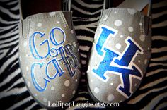 Kentucky Wildcats hand painted canvas shoes, UK, BBN. $30.00, via Etsy.