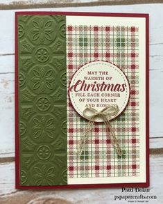 Country Christmas Card with Tin Tile Embossing Folder DIY Handmade Country Christmas Card using the Tin Tile Embossing Folder, Festive Farmhouse DSP and Timeless Tidings stamp set from Stampin Up Christmas Cards 2018, Homemade Christmas Cards, Xmas Cards, Handmade Christmas, Homemade Cards, Christmas Diy, Embossed Christmas Cards, Christmas Decorations, Christmas Cactus