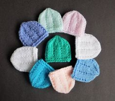 I decided to make micro-preemie sizes of a few of my little hats - perfect for very early premature babies or Angel babies born too soon. Micro-Preemie Baby Hats ~ Jack & JillMicro-Preemie Baby Hats
