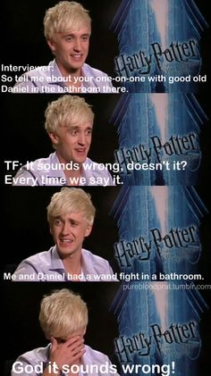 Harry Potter interview with Tom Felton, actor of Draco Malfoy Harry Potter Interviews, Harry Potter Puns, Harry Potter Cast, Harry Potter Love, Tom Felton Harry Potter, Albus Severus Potter, Harry Potter Characters, Drarry, Dramione