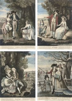 Robert Sayer, Publisher   The Seasons: Spring; Summer; Autumn; Winter   mezzotints on laid paper, extensively handcoloured with watercolour and gouache, trimmed to image and title, published London, 1786  unframed  S. 13 5/8 x 9¾in. (34.7 x 24.8cm.)