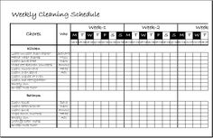 Weekly Clean Up Sheet Template DOWNLOAD At Http://www.xltemplates.org