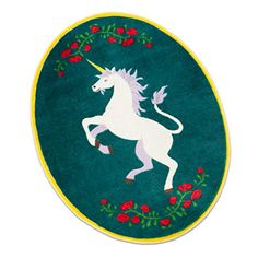 ThinkGeek :: Magical Unicorn Rug Oval-shaped rug features a unicorn and roses A ThinkGeek creation & exclusive Really pulls the room together $39.99