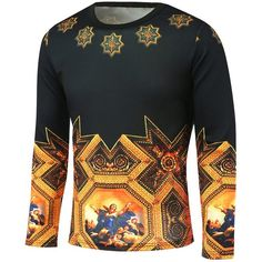 Medieval Painting Printed Long Sleeve T Shirt ($19) ❤ liked on Polyvore featuring men's fashion, men's clothing, men's shirts, men's t-shirts, mens longsleeve shirts, mens long sleeve t shirts and mens long sleeve shirts