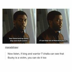 T'challa is the greatest man. I love him in this movie so much and I'm super excited for his solo movie.