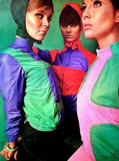 Ulla Andersson, Kathy Carpenter and Gudrun Bjarnadottir, Mademoiselle Magazine, December 1965. Photographed by Gus Peterson. Vintage 60s ski style.