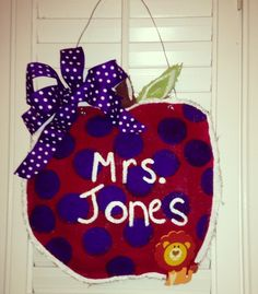 Apple burlap teacher door hanger - request was for purple color and lion mascot ~ hand made by Kandi Daniel