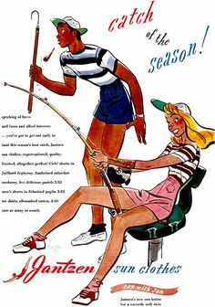 Advertising for Jantzen Sun Clothes/ Summer Style/ Summer Fashion/ Saddle Shoes Vintage Advertisements, Vintage Ads, Vintage Images, Vintage Travel, Complex Art, Print Advertising, 1950s Advertising, Best Ads, Fun Illustration