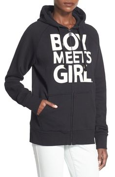 Boy Meets Girl Full Zip Graphic Hoodie available at #Nordstrom