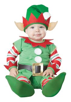 California Costumes Infant Christmas Elf, Green/Red: Shirt, pants with attached shoes, hat with ears Baby Elf Costume, Boy Costumes, Halloween Costumes For Kids, Holiday Costumes, Halloween Club, Trendy Halloween, Christmas Elf Costume, Baby Kostüm, Baby Boy Christmas