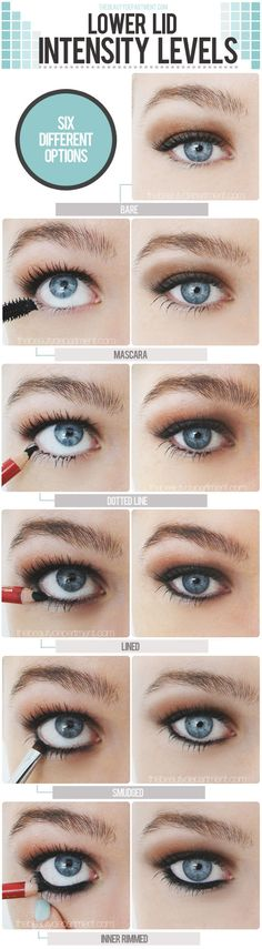 Six Different Options to wear Eyeliner on the lower lid. hacks for teens girl should know acne eyeliner for hair makeup skincare Beauty Make-up, Beauty Secrets, Beauty Hacks, Beauty Tips, Hair Beauty, The Beauty Department, Make Up Inspiration, Lower Lashes, Tips Belleza