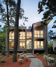 Modern Gray Front Elevation with Stone Path