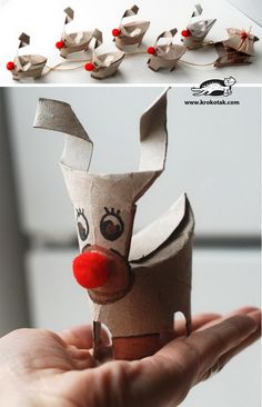 Reindeers - 60 Homemade Animal Themed Toilet Paper Roll Crafts, http://hative.com/homemade-animal-toilet-paper-roll-crafts/,