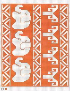 Wayuu Mochila chart with elephants Knitting Charts, Knitting Stitches, Knitting Yarn, Knitting Patterns, Vintage Embroidery, Cross Stitch Embroidery, Cross Stitch Patterns, Weaving Projects, Crochet Projects