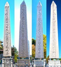 The Obelisk of Theodosius , Theodosius Dikilitaşı , Dikilitaş Sultanahmet 4 tarafındaki yazılar made in Egypt İstanbul Turkey 19.10.2012 ( Photograph by Bülent Özalp)00