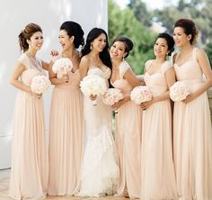 Love The Bridesmaid Dresses And Fluidity Of All Bouquets With Bridal Gowns