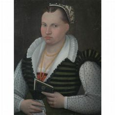 North Italian School  16th Century  Portrait of a Lady Holding a Book  Oil on panel  28 3/4 x 22 1/4 inches (72.5 x 56.5 cm)