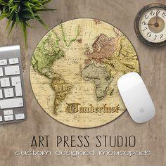 Wanderlust Mousepad, Map Mousepad, Vintage World Map Print Mousepad, Travel Mouse Pad, Christmas Gift