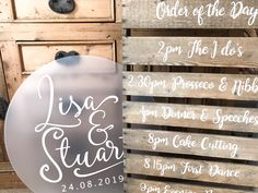 Frosted acrylic meets rustic wood in this mixed media wedding fusion Wedding Guest Book, Wedding Table, Wedding Day, Pallet Wedding, Country Barn Weddings, Order Of The Day, Table Signs, Guest Book Alternatives, Rustic Style