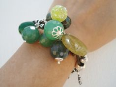 Pulsera Taurere. Aventurina, jade, jaspe y serpentina.
