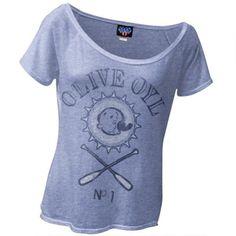 Popeye - Olive Oyl Juniors Slouch T-Shirt - Medium, Women's, Blue
