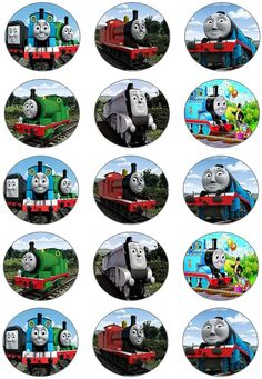 Thomas the train edible image cupcake toppers by Toppers4Cake, $8.00