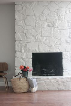 Painted Stonework Fireplace