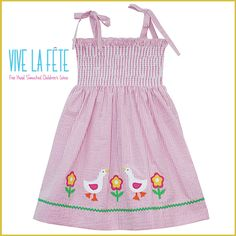 A day at the farm with this lovely pink stripped elastic dress embellished with beautiful geese and flower applique accents