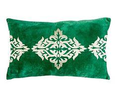 Cojín de terciopelo, verde - 50x30 cm