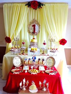 Kara's Party Ideas Charming Beauty and the Beast Birthday Party Beauty And The Beast Bedroom, Beauty And Beast Birthday, Beauty And The Beast Theme, Beauty And The Best, Birthday Backdrop, Birthday Party Decorations, Party Centerpieces, Party Themes, 1st Birthday Girls