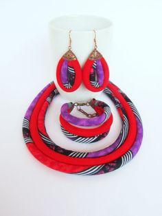 Rood-paarse ketting  Afrikaanse sieraden Set