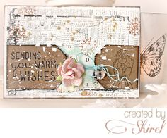 On The 11th Day of Christmas...Shirel brings out her gorgeous, shabby-chic side with this wondrous card using the Warm Wishes stamp set! Perfectly mixed with Coffee Break pastel charm, the split kraft tag grounds everything and provides a whimsical banner across the card for stamping!