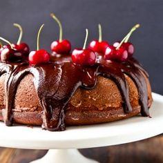 Roasted Cherry Chocolate Cake