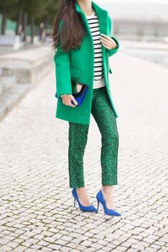 Cobalt Blue and Emerald Green colors: J. Crew Cocoon Coat // Asos Jacquard Pants (love these) // Massimo Dutti Striped Sweater // Boutique9 Justine Heels // BCBG Maxazria Clutch // Michael Kors Watch // J. Crew Pavé Bracelet // J. Crew Tortoise Bracelet // Jules Smith Double finger Ring