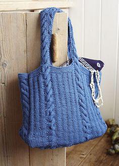 Rib and cable bag knitting pattern