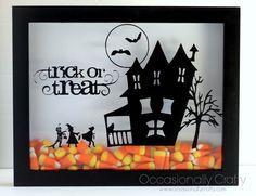 Shadowbox +Vinyl+Candy Corn= Super Cute Halloween Decoration! #halloween #candycorn