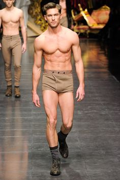 Vintage style mens cashmere underwear from Dolce & Gabbana winter 2012/13 collection