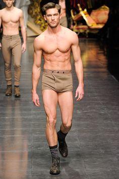 Vintage style mens cashmere underwear from Dolce & Gabbana winter 2012/13 collection
