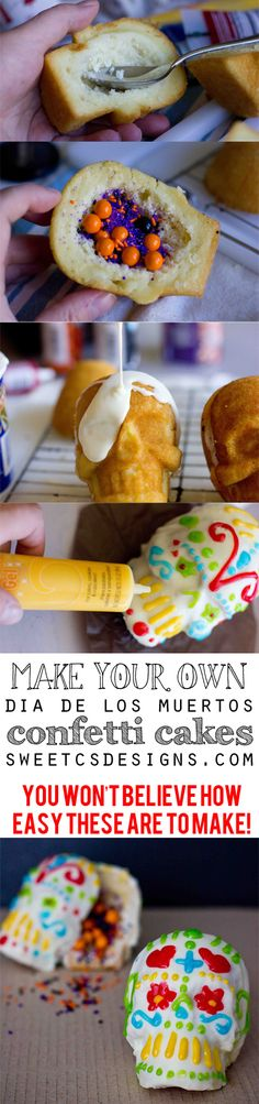 make your own Dia De Los Muertos Confetti Cakes- this is an awesome tutorial that actually looks easy!