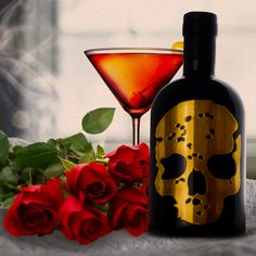 Wishing everyone a very happy #ValentinesDay. Lunchtime #martini anyone? 👻🍸 #GhostVodka #valentines #gold #skull #bottles #drinks #cocktails #drinkstagram #roses #ghost #vodka #mixology #vip #exclusive #bottleservice #bottlesondeck #travel #explore