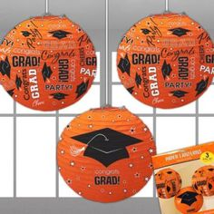If you're looking for orange decorations to adorn your party space for your graduate's special celebration, look no further than these orange grad paper lanterns!