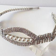 Http://romanceinsilver.etsy.com Rhinestone and Swarovski pearl bridal headband