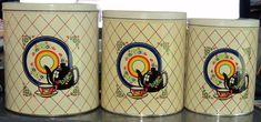 Vintage 3 piece Metal Canister Set Black Tea Kettle Motiff