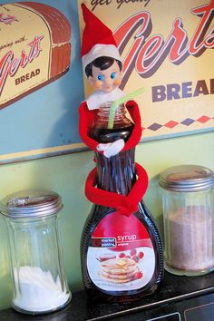 Elf having a little maple syrup
