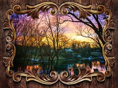 """A winter sunset at dusk with silhouetted trees over the water of White's Cove in Pasadena, Maryland. The fancy frame template and texture is from a software program called, """"Funny Photo Maker""""."""