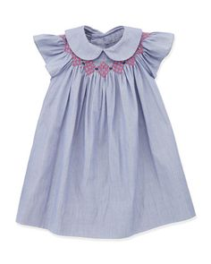 Sophie Smocked Bishop Dress, Denim by Busy Bees at Neiman Marcus.