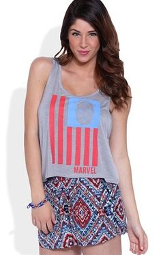 Deb Shops Racerback Tank Top with Captain America Flag Screen $13.30