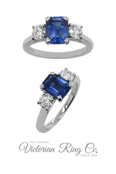 We love the different shapes in this three stone sapphire and diamond engagement ring. The deep blue emerald-cut sapphire weighs 1.54ct and is set between two round brilliant-cut diamonds that weigh a total of 0.50ct. #SapphireRing #SapphireEngagementRing #SapphireandDiamond #ThreeStoneRing #TrilogyRing Engraved Wedding Rings, Diamond Wedding Rings, Diamond Engagement Rings, Engagement Ring Styles, Designer Engagement Rings, Full Eternity Ring, Blue Sapphire Rings, Three Stone Rings, Emerald Cut